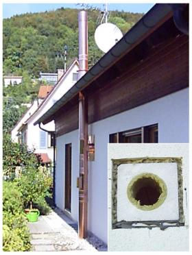 Doppelwandiger Edelstahlschornstein mit Außenmantel, Kupfer